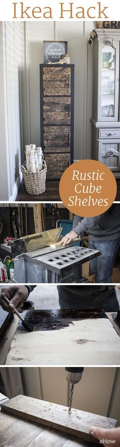 Just because you can't find the most unique pieces at Ikea doesn't mean you can't transform them into something totally yours! Take a basic shelving unit and distress it, paint it and make it all your own with this DIY tutorial. Inexpensive items that ultimately look very chic and pricey! Love this Ikea hack.
