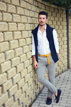 Men's Navy Crew-neck Sweater, White Longsleeve Shirt, Yellow Leather Belt, Grey Gingham Dress Pants, and Navy Leather Tassel Loafers Long Sleeve Sweater, Long Sleeve Shirts, Yellow Pants, Yellow Belt, Tassel Loafers, Gingham Dress, Dress Pants, Dress Shirts, Men Looks