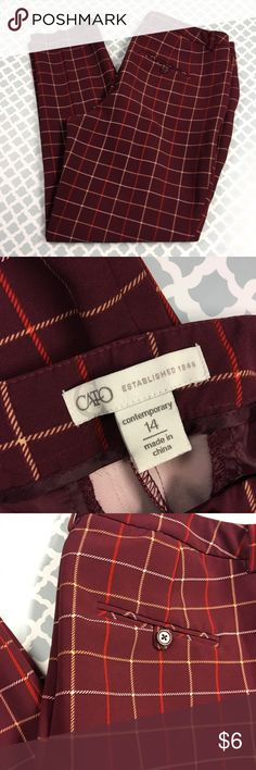 CATO Plaid Dress Slacks 🔘Description: CATO burgundy fall plaid career dress slacks women's size 14  🔘Condition: Excellent   🔘Measurements:       Hip to Hip – 18 inches       Inseam – 31 inches                Inventory:    ⭐️ 15% Off All Bundles! 🛍    💞Thanks for stopping by! 😘 Cato Pants
