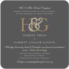 Monogram Elegance - Signature White Wedding Invitations - simplyput by Ashley Woodman - Charcoal - Gray : Front