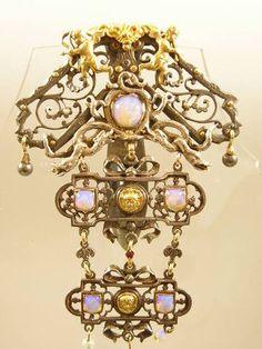 SUPREME ANTIQUE CUT STEEL SILVER GOLD GEM SET CHATELAINE CLIP PUTTI & DRAGONS | eBay