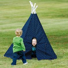 "Terrific Teepees E-Pattern | Boys and girls will have so much fun in their own teepee! Moms will love it because it sets up in 15 seconds, stores conveniently in a closet or under a bed, and is good for any surface, indoor or out. Big enough for a grown-up and child. Takes 4 yards of 60"" wide fabric. PVC pipe and crutch tips form the poles. Designed by Connie Jubitz for SewBaby."