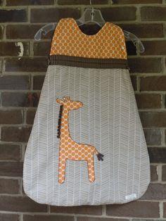 Baby Sleep Sack Minky Middle with Giraffe Appliqué by codamonkey, $50.00