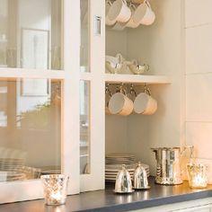 Glass sliding doors on kitchen cabinets