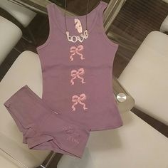 Victoria's Secret CUTE tank and hipster Never used with tags Cotton Victoria's Secret CUTE Sparkle Bow tank and hipster. Victoria's Secret Intimates & Sleepwear Pajamas