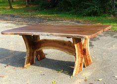 Custom Made Slab Walnut Dining Table Turquoise Inlaid