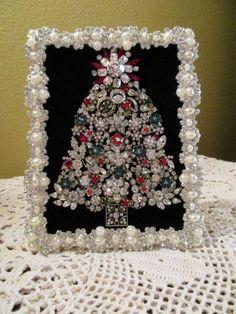 Vintage Framed Rhinestone Jewelry Christmas Tree OOAK