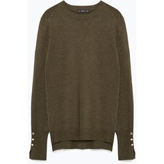 Zara Round Neck Sweater ($30) ❤ liked on Polyvore featuring tops, sweaters, hunter green, round neck sweater, zara top, hunter green sweater, brown tops and round neck top