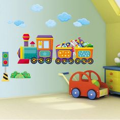Elegant Colorful Fun Train Wall Stickers For Kids Bedroom Interior Design Ideas  Colorful Wall Stickers For Your Kids Bedroom Wall Decoration