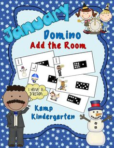 January Domino Add the Room (Sums of 0 to 10)  $  #MartinLutherKing  #NewYearsDay   #Winter  #KampKindergarten  http://www.teacherspayteachers.com/Product/January-Domino-Add-the-Room-Sums-of-0-to-10-1615155