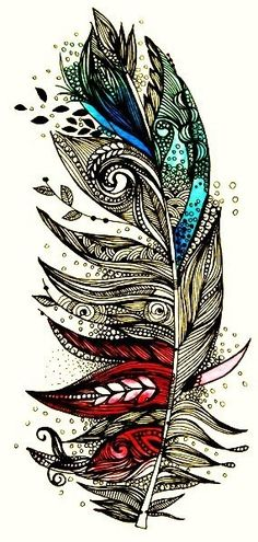 Intricate feather design - black and white design with splashes of color