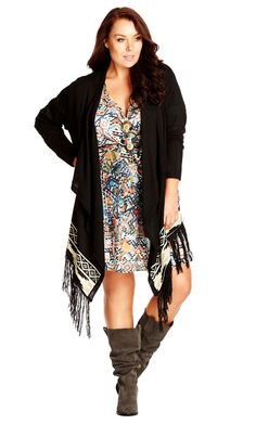 This kimono style #cardi is as comfortable as it is stylish. With an Aztec print trim and fun fringe, this classic shape gets an updated edge just in time for #fall.