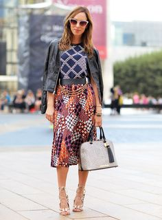 Sydne Summer styles Trina Turk prints with a leather jacket for New York Fashion Week