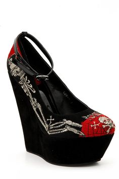 Too Fast Poison Skeleton Super High Platform Wedge $59.99