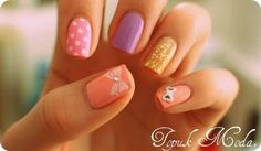 pastel and printed nail art