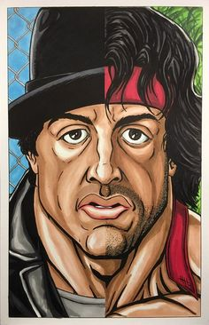 Sylvester Stallone takes on his two most iconic roles in this tribute. Dope Cartoon Art, Dope Cartoons, Sylvester Stallone Rambo, 3d Tattoos For Men, Drawing Poses Male, Silvester Stallone, Hulk Art, Lion Painting, Graffiti Murals