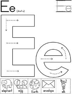 Printable Preschool Worksheets, Printables, Kindergarten Spelling Words, Daycare Lesson Plans, Letter E, Teacher Tools, Alphabet, How To Plan, Learning