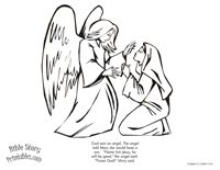 Angel Mary Coloring Page