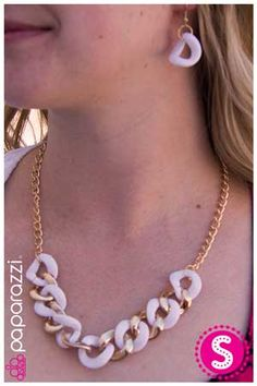 Paparazzi Gold and white Necklace $5 All Paparazzi necklaces come with matching earrings https://www.facebook.com/PaparazziDawnMarie