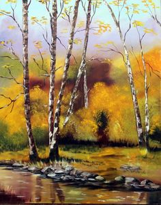 Őszi erdő.olaj, farost, 50x40
