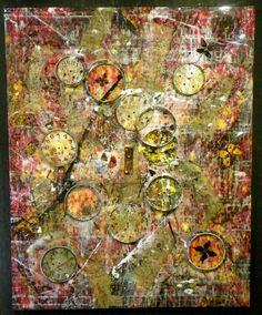 """""""Tempus Fugit (Time Flies)"""" Acrylic, Ink, Pastel, Antique Door Knob Face from c.1840's, Antique Sheet Music                       from c. 1878, Real Butterflies, Antique Clock Parts/Hands from the late 1800s & Early 20th Century, Antique Skeleton                                                          Keys from the late 1800s, w/ Glossy Glaze on Canvas, 60 x 48 x 5"""" (Sold) The Art of Kreg D. Kelley"""