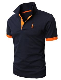 Black Friday H2H Mens Fine Cotton Giraffe Polo Shirts of Various Colors NAVY Asia XXXL (JDSK36) from H2H Cyber Monday