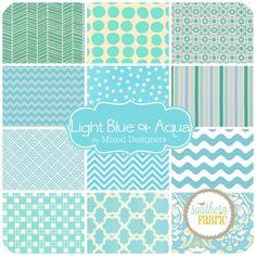 Light Blue and Aqua - Fat Quarter Bundle (BL.12FQ.A) by Mixed Designers for Southern Fabric | SouthernFabric.com