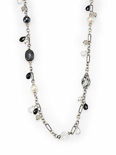 David Yurman 6MM-10MM Freshwater White Pearl, Semi-Precious Multi-Stone & Sterling Silver Tweejoux Station Necklace