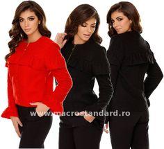 Jacheta eleganta de dame Judit Ruffle Blouse, My Style, Tops, Women, Fashion, Elegant, Moda, Women's, La Mode