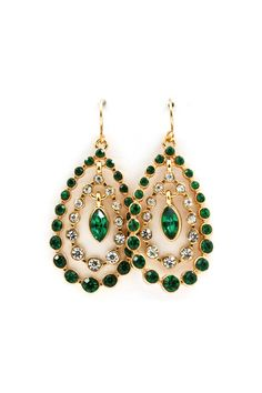 teardrop earrings in emerald