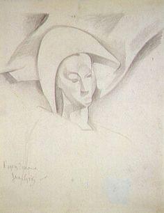 Juan Gris (1887 - 1927)  D'après Cézanne, tête d'Arlequin 1916 Mine graphite sur papier 25,5 x 20,5 cm.  Centre Pompidou