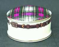 Ralph Lauren China Stewart Tartan Round Box with Lid, Fine China Dinnerware - Red, Green & White Plaid