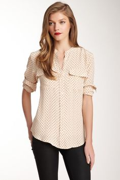 Button Front Anchor Print Silk Blouse | Equipment