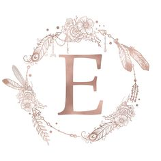 Letter E Rose Gold Pink Initial Monogram Comforters by Nature Magick - Queen: x Monogram Stickers, Monogram Initials, Monogram Letters, Monogram Canvas, Letter E Art, Framed Art Prints, Canvas Prints, Canvas Art, Monogram