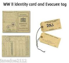 WW II / WORLD WAR 2 Identity card and Evacuee tag - teaching resource in , Educational History Projects, School Projects, Evacuees Ww2, World War 2 Display, Ww2 Facts, The Blitz, Bookmarks Kids, Thinking Day, British History