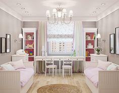 Interior MUZA Design studio on Behance Kids Bedroom Designs, Home Room Design, Girls Bedroom, Bedroom Decor, Attic Remodel, Attic Renovation, Interior Design Studio, Studio Design, Little Girl Rooms