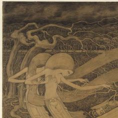 O Grave, where is thy Victory?, Jan Toorop, 1892 - The title of this drawing is taken from a letter by wthe Apostle Paul concerning the victory of Faith over Death. Here Death appears as the deliverer from earthly suffering. Lying near an open grave is the body of a man entwined with thorny branches, the symbol of man's sorrowful earthly existence. Two seraphim (angels) float above the grave and free the dead man from these branches.Rijksmuseum