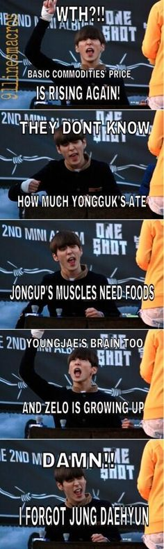 Lol the grammar sucks but the joke is cute, and so is Himchan's faces!! >_