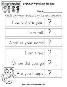 Free English Grammar Worksheets for Kindergarten - Learning to correctly construct sentences. Printable English Worksheets, English Worksheets For Kindergarten, English Worksheets For Kids, Homeschool Kindergarten, Writing Worksheets, Kindergarten Writing, Kids Worksheets, English Activities, Literacy