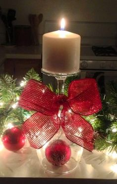 Festive Christmas Wine Glass Candle Holder