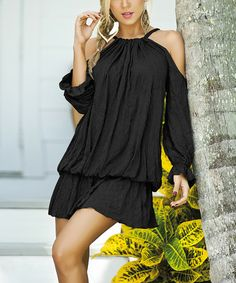 Love this Black Crinkle Cutout-Sleeve Tunic on #zulily! #zulilyfinds