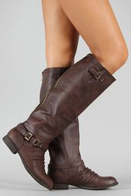 Stella-1 Ruched Buckle Riding Knee High Boot    Seriously get your boots from this website. Such great prices for awesome looking shoes!