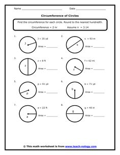 circumference area radius and diameter worksheets math aids com pinterest. Black Bedroom Furniture Sets. Home Design Ideas