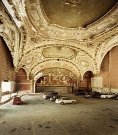 Detroit the home of distopic images of urban decay  mfdp:    kateoplis:    The 1929 Michigan Theater in Detroitturned parking lot by Sean Hemmerle