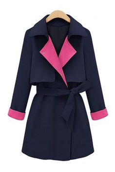 pink & navy trench