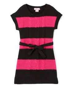 Another great find on #zulily! Fuchsia & Black Tie-Waist Sweater Dress - Kids & Tween #zulilyfinds
