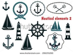 Set of nautical heraldry themed logo design elements with assorted anchors, crossed tridents, sailboat, yacht, two lighthouses, ships wheel, schooner, rope and chain frames - stock vector