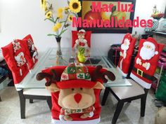 Como hacer cubresillas navideñas paso a paso Step by step to the Christmas cutlery Xmas Eve Boxes, Christmas Chair Covers, Wood Carving Designs, Christmas Jars, Yule, Crafts For Kids, Blog, Merry, Gift Wrapping