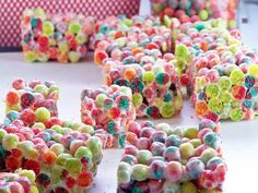 Trix Krispies.  don't know how kids can eat this as a cereal :} but i think they would love them at easter for a sch party