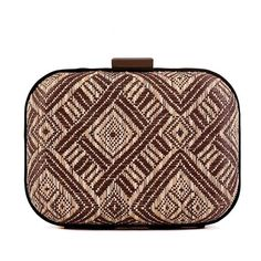 Olive and beige ethnic knit evening clutch bag in a mixture of aztec and lattice print. Perfect for a  day stroll.